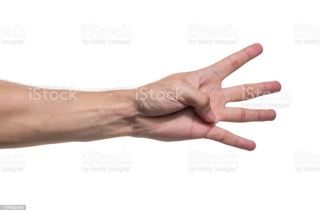 male hand with four fingers isolated stock photo