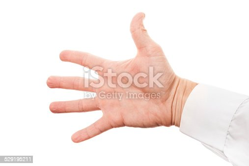 182925103 istock photo Male hand with open palm in shirt isolated on white 529195211