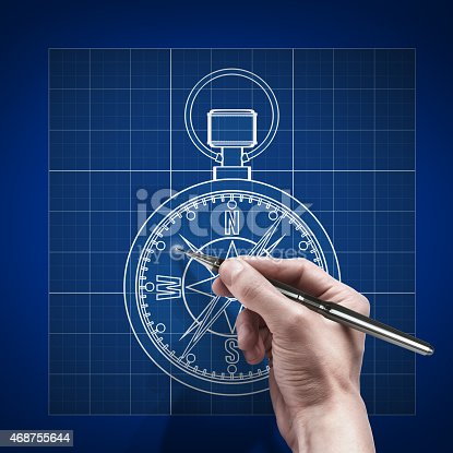 187602778 istock photo male hand with pen blueprint .Compass. Cad 468755644