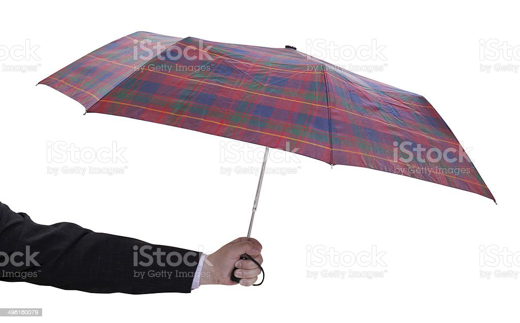 male hand with small open telescopic umbrella royalty-free stock photo