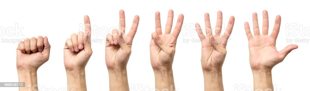 Male hands counting from zero to five isolated on white background stock photo