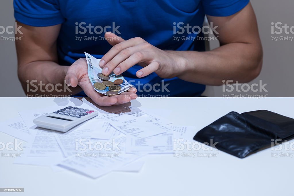 Male hands counting money stock photo