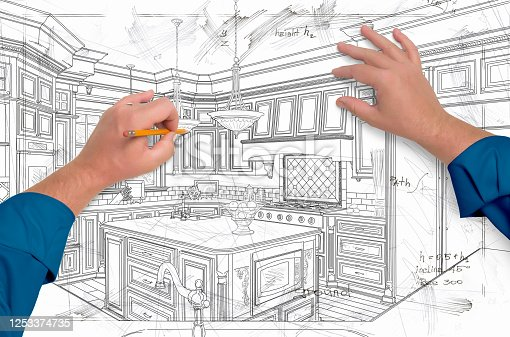 894638730 istock photo Male Hands Drawing Custom Kitchen Design Details 1253374735