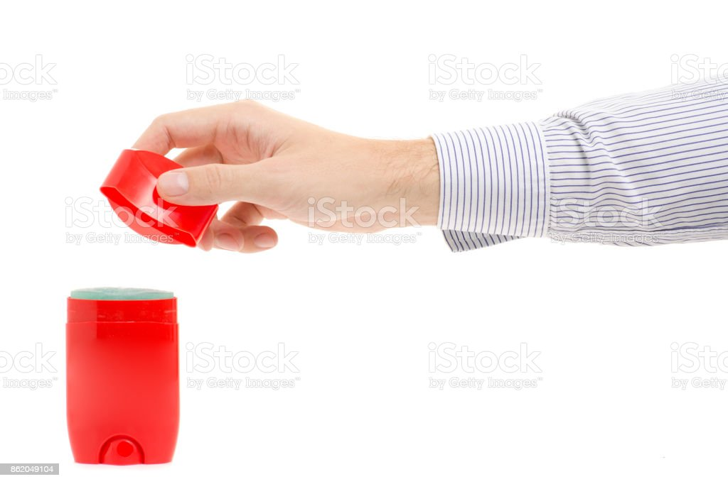 Male hands dry deodorant stock photo