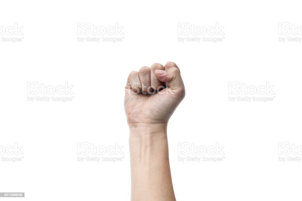 male hands, fist for active concepts on white backgrounds, isolated stock photo
