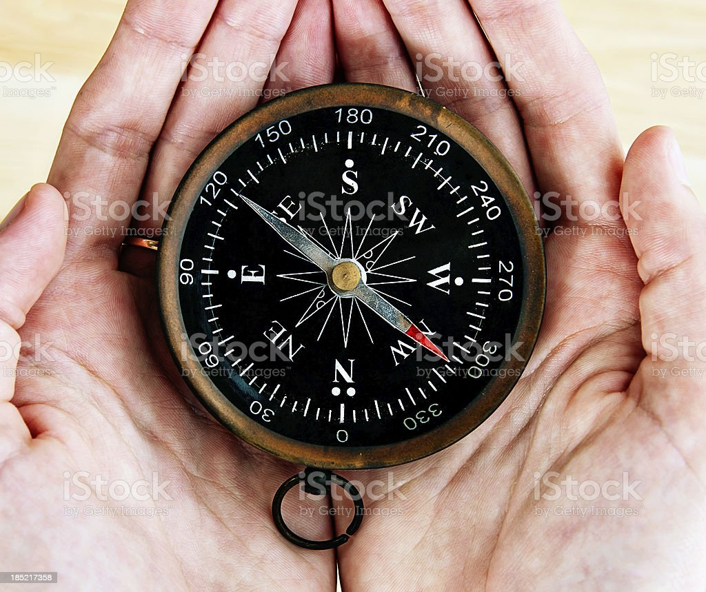 Male hands holding antique compass stock photo