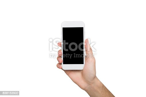 Male hand hold mobile phone, cutout. Man with modern smartphone, on white isolated background, copy space on screen