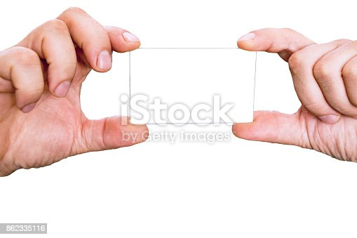 844190384 istock photo Male Hands holding card 862335116