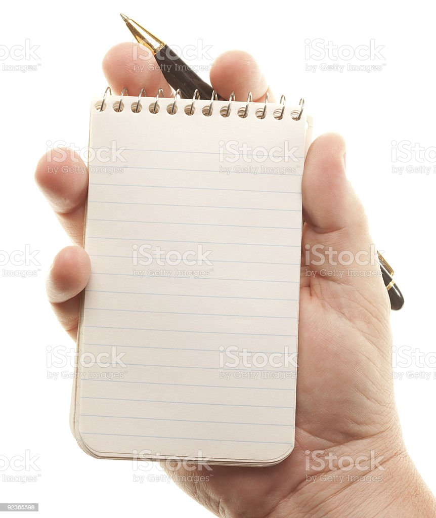 Male Hands Holding Pen and Pad of Paper royalty-free stock photo