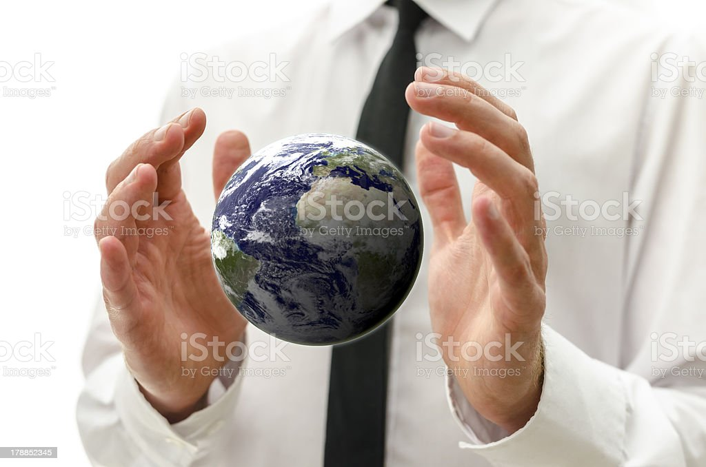 Male hands holding the  earth globe. royalty-free stock photo