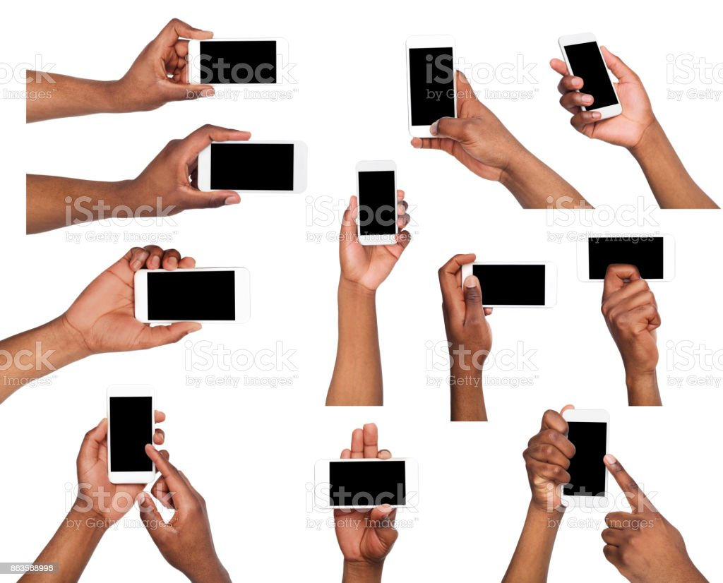 Male hands pointing, holding mobile phone stock photo