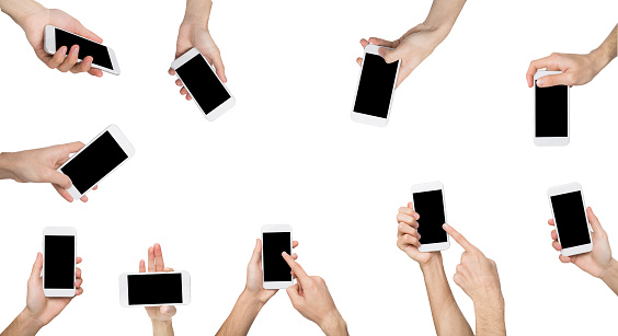 Set of white male hand touching mobile phone display and pointing with index finger on blank screen with copy space, white isolated background. Communication concept
