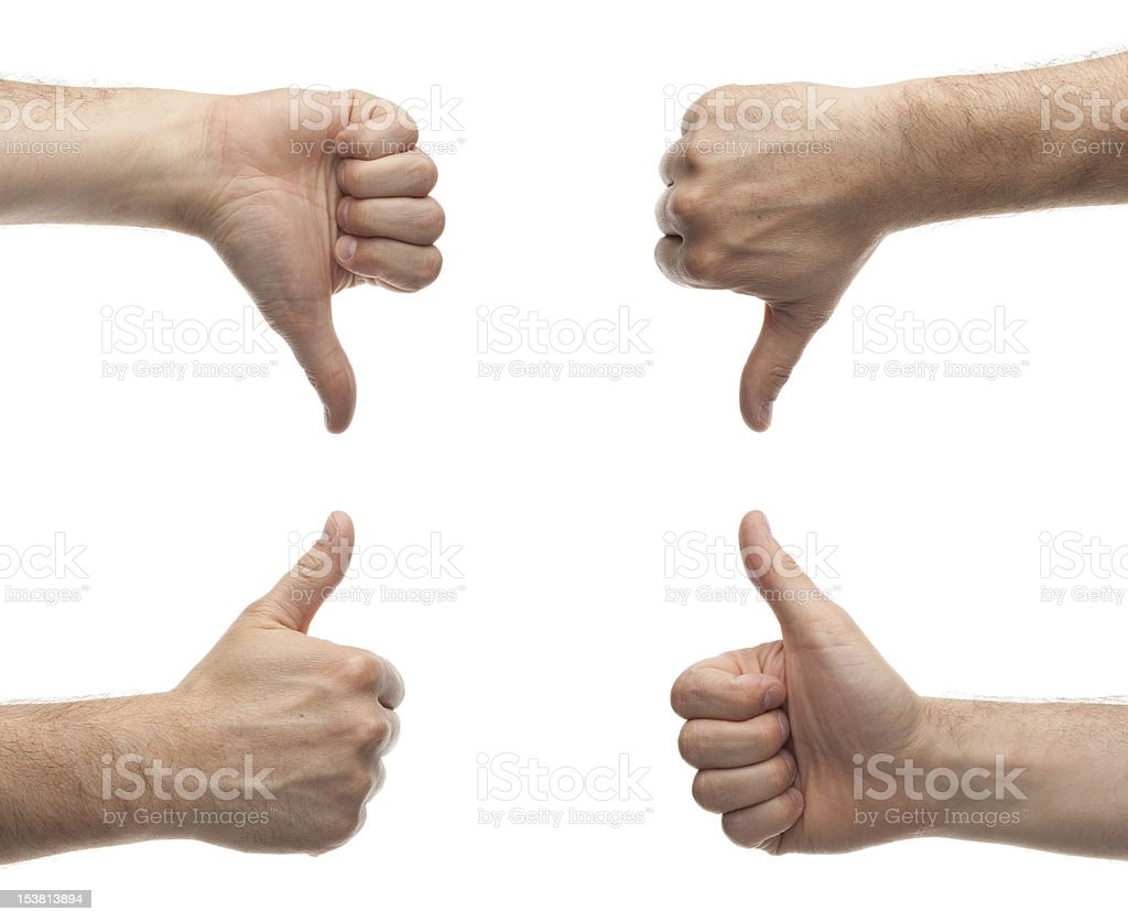 male hands showing thumbs up and down royalty-free stock photo