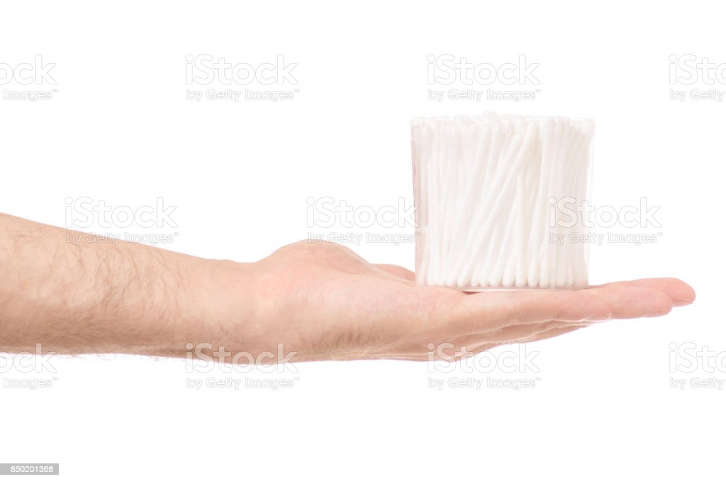Male hands with ear wand isolated stock photo
