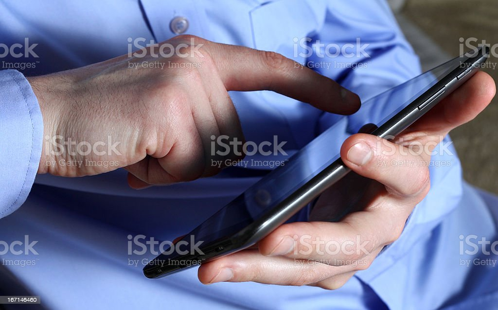 Male hands with tablet royalty-free stock photo