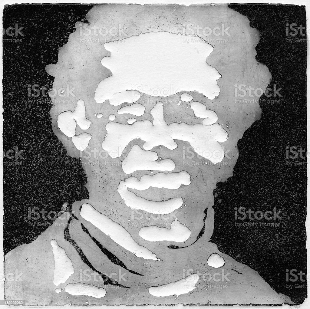 Male Head and Face Relief stock photo