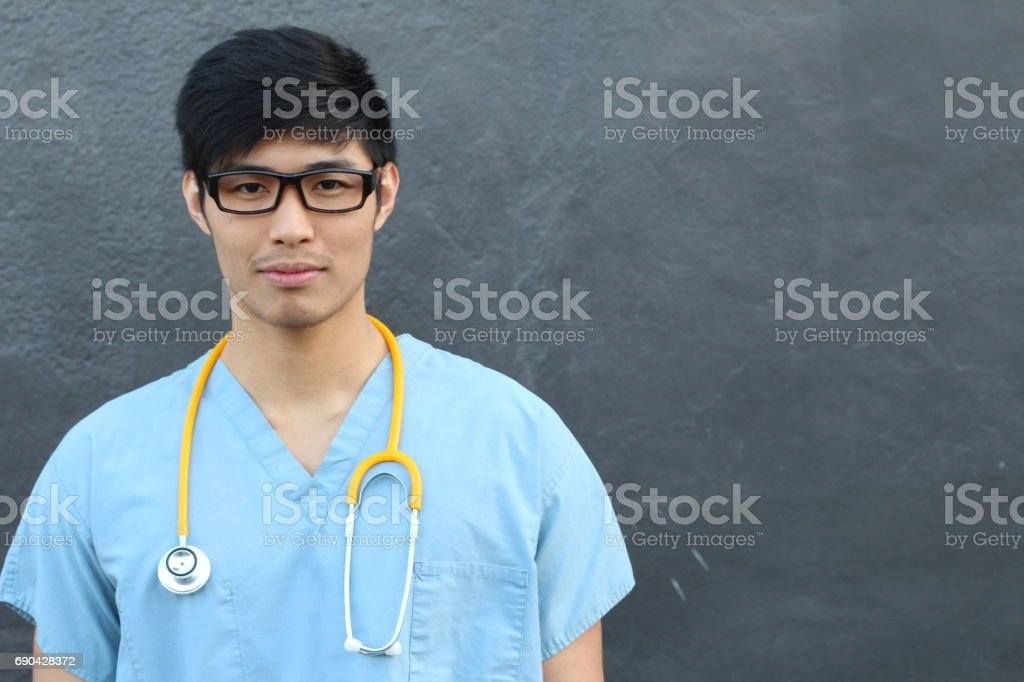 Male health care worker smiling with copyspace stock photo