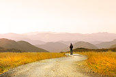 A male hiker stops as he hikes on a footpath that elegantly curves through a tall stand of wild golden grasses. He takes a moment to enjoy the majestic view of mountain ridges in front of him that recede into the setting or rising sun that throws a golden cast across the entire scene.