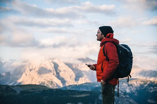 Alpine glow on distant mountains