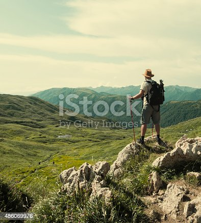 istock Male hiker with backpack 486069976