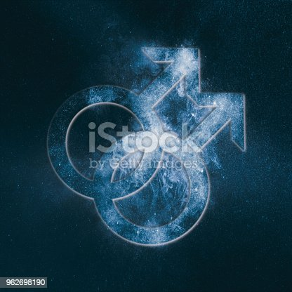 istock Male homosexuality symbol. Gay glyph. Doubled male sign. Abstract night sky background 962698190