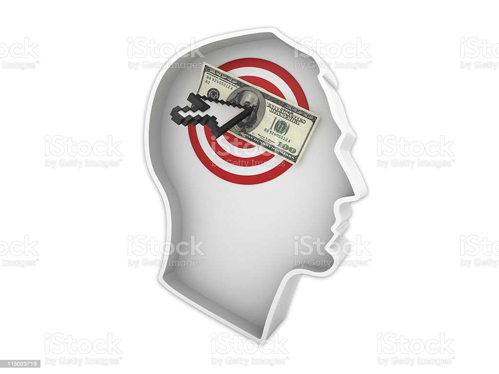 Male Human Head Profile with Dollar Target royalty-free stock photo