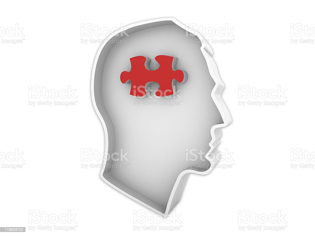 Male Human Head Profile with Jigsaw Piece royalty-free stock photo