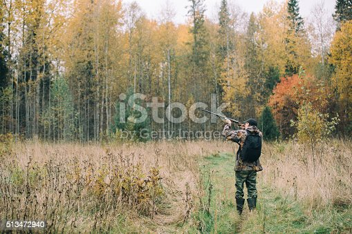 istock Male hunter in the woods 513472940