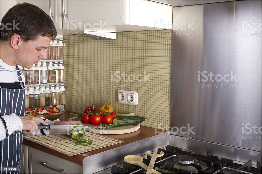 Male in home kitchen royalty-free stock photo