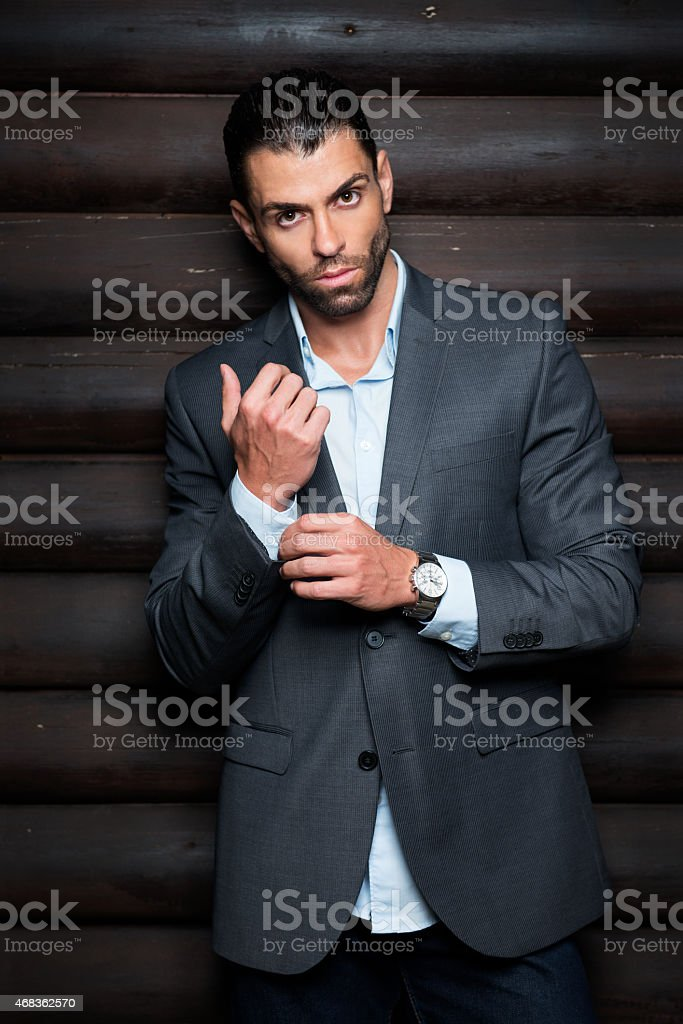 Male in suit looking at camera royalty-free stock photo