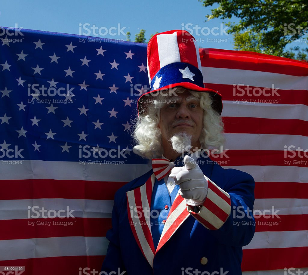 Male in Uncle Sam costume stock photo