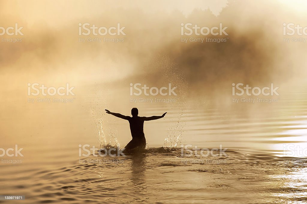 Male in water royalty-free stock photo