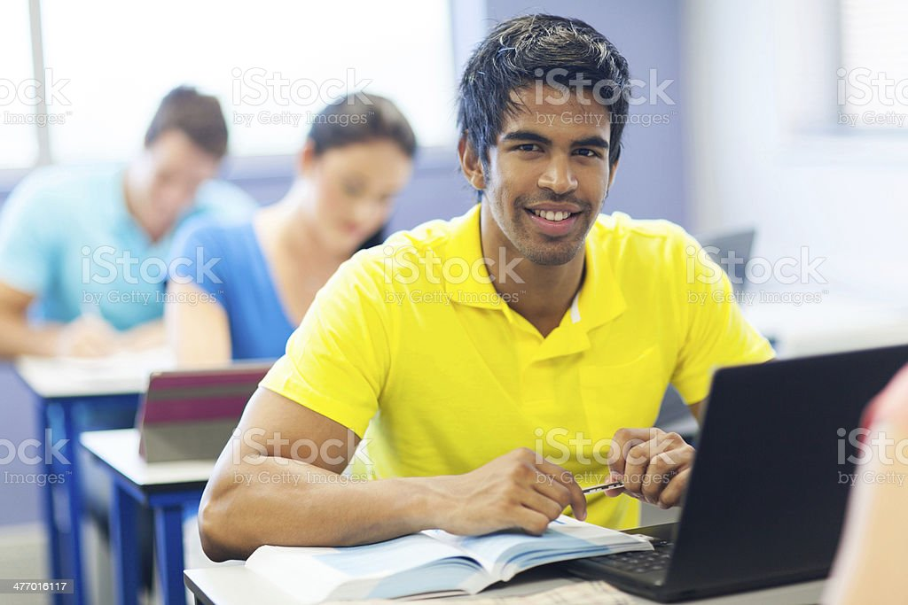 male indian university student in lecture room stock photo
