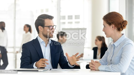 1085713886 istock photo Male insurance broker or bank manager consulting client making offer 1151593897