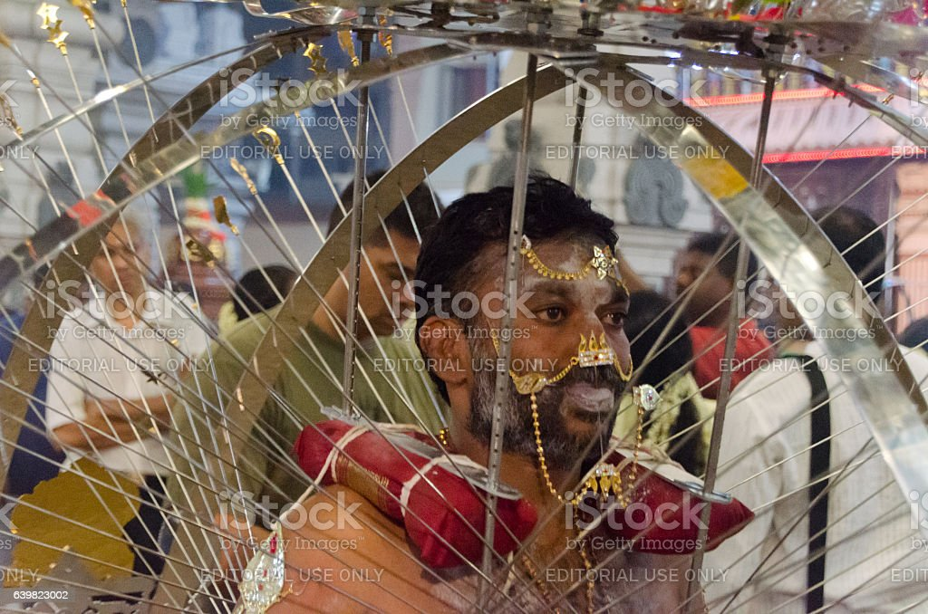 Male Kavadi carrier in Singapore Thaipusam stock photo