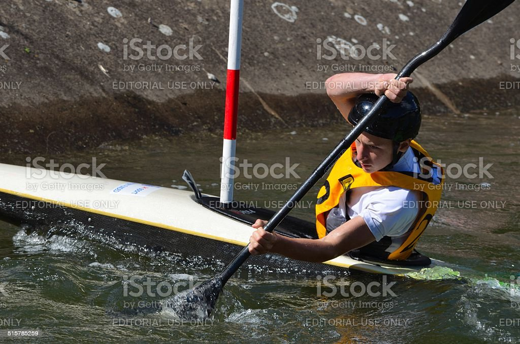 Male Kayak Competitor stock photo