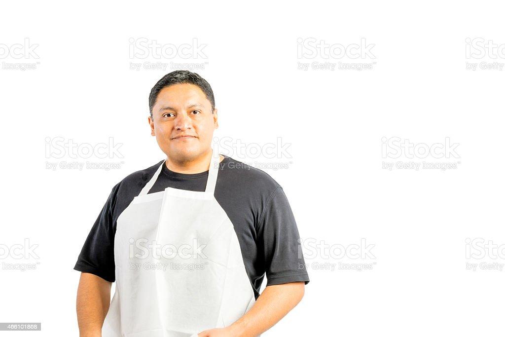 Male Latino Wearing Apron stock photo