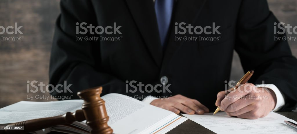 Male lawyer in the office. Justice and Law concept. stock photo