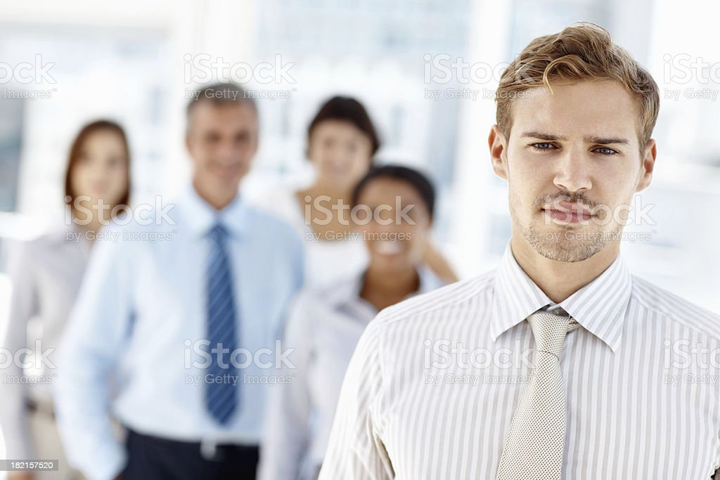 Male leader leading team royalty-free stock photo