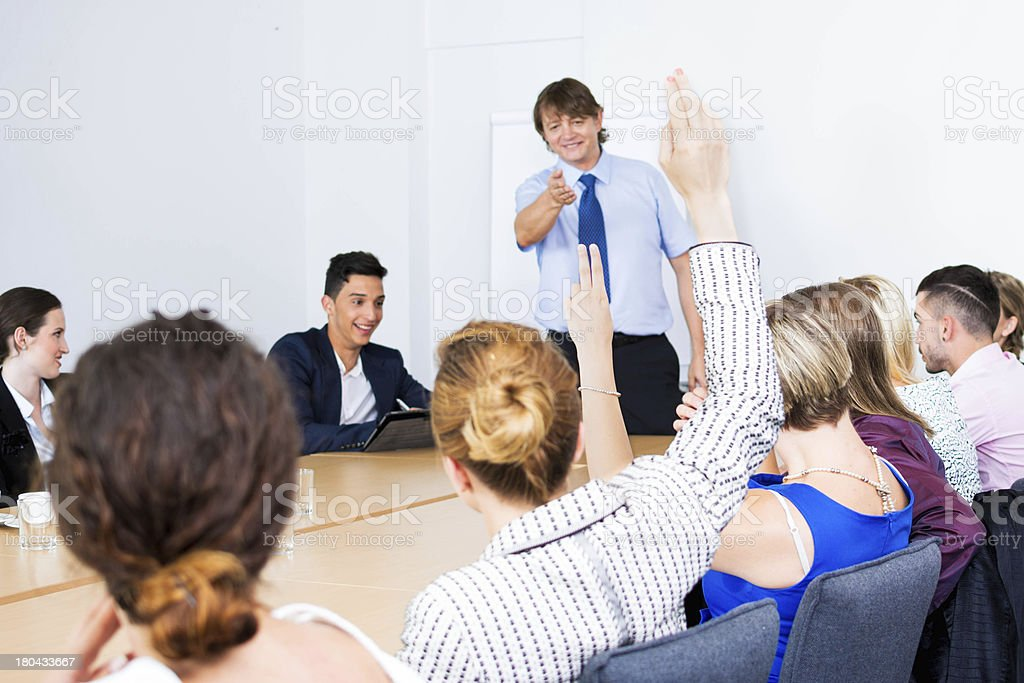 Male lecturer on business seminar royalty-free stock photo