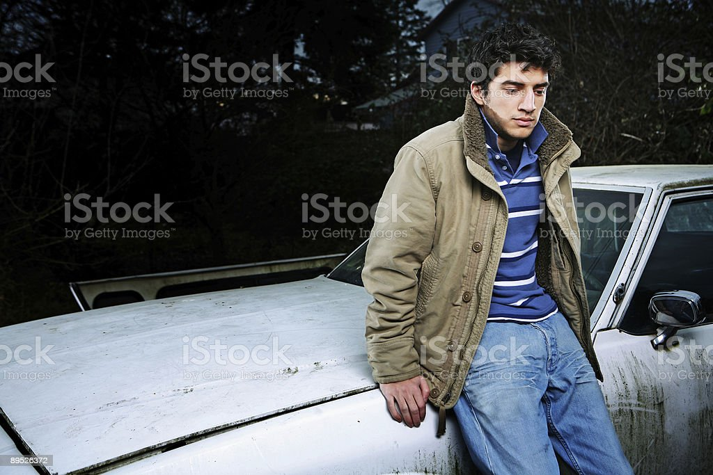 Male Looking Down in Disappointment royalty-free stock photo