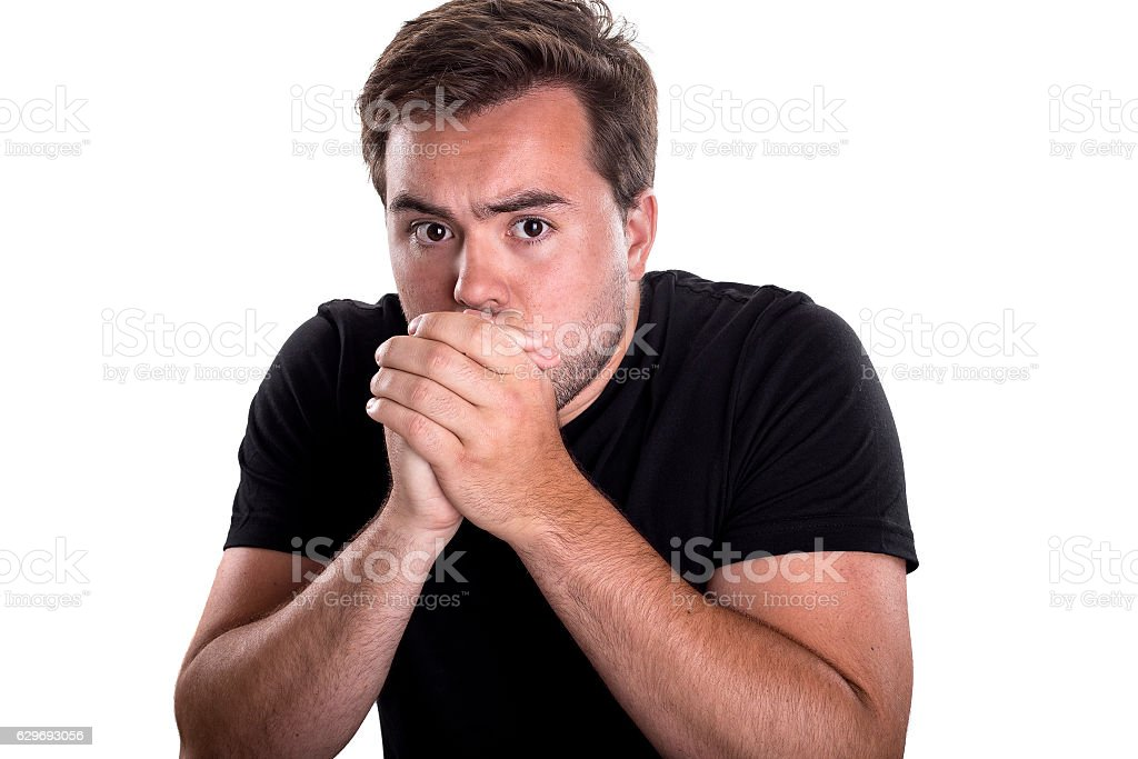 Male Looking Worried of a Mistake stock photo