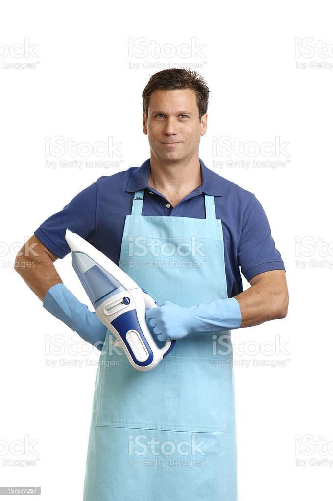 Male Maid with Dust Buster Isolated on White Background stock photo