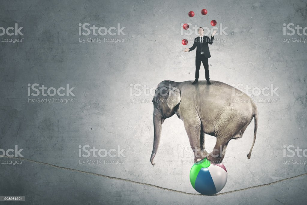 Male manager juggling balls above an elephant stock photo