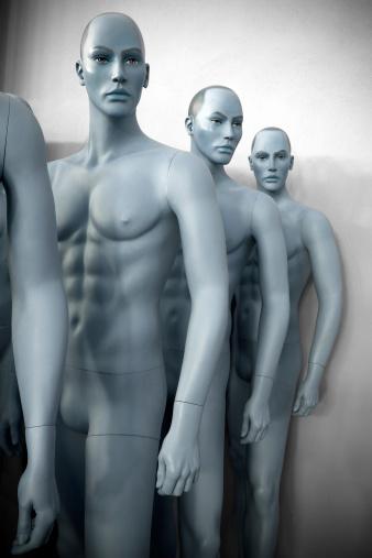 Male mannequins torso, blue toned.