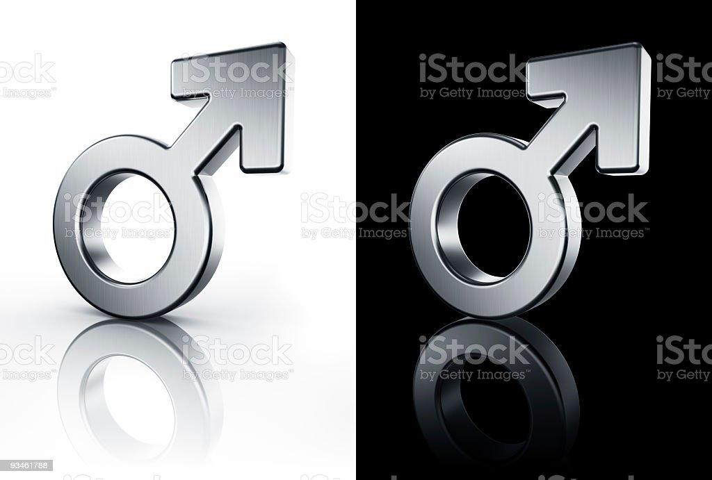 male mars sign on white and black floor stock photo