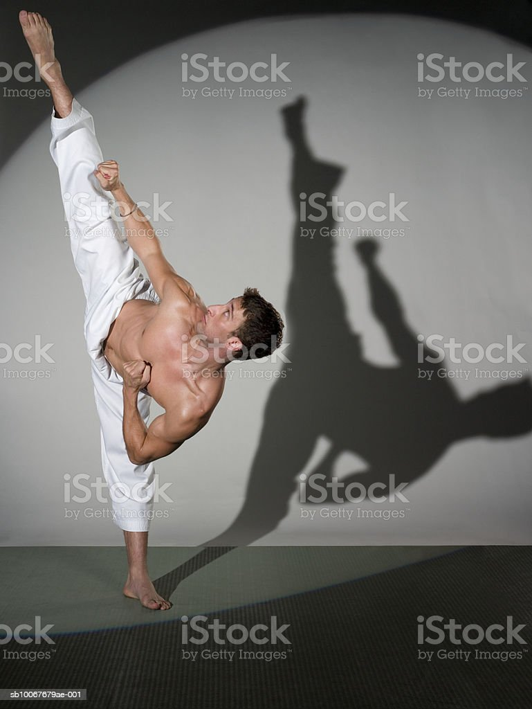 Male martial artist performing kick, studio shot royalty-free stock photo