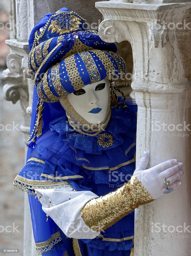 Male mask with costume from Middle East in Venice royalty-free stock photo