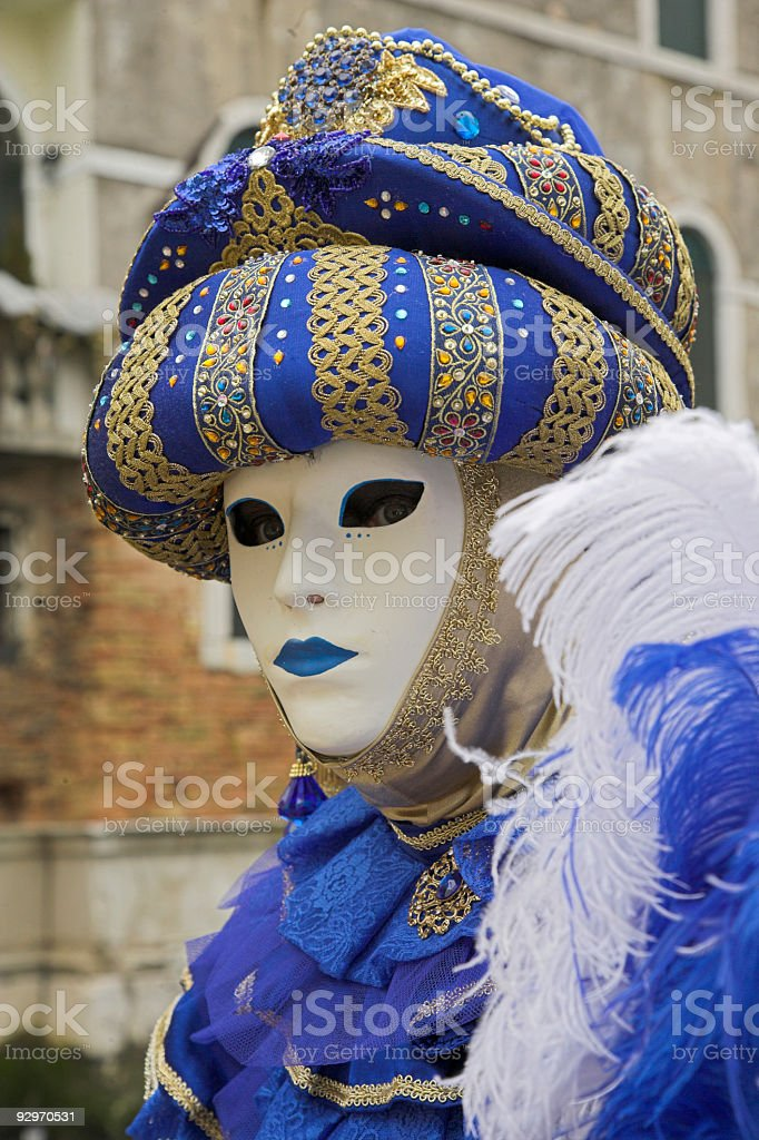 Male mask with Middle Eastern costume at carnival in Venice royalty-free stock photo