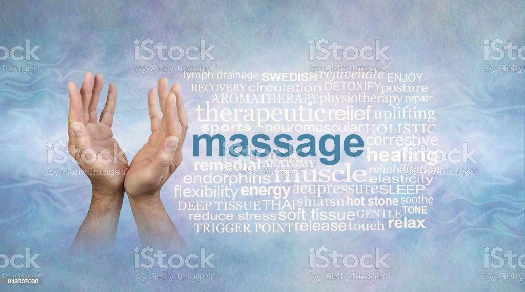 Male massage hands word cloud stock photo